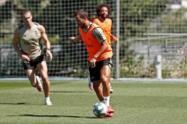 Eden Hazard op training bij Real. Beeld Real Madrid