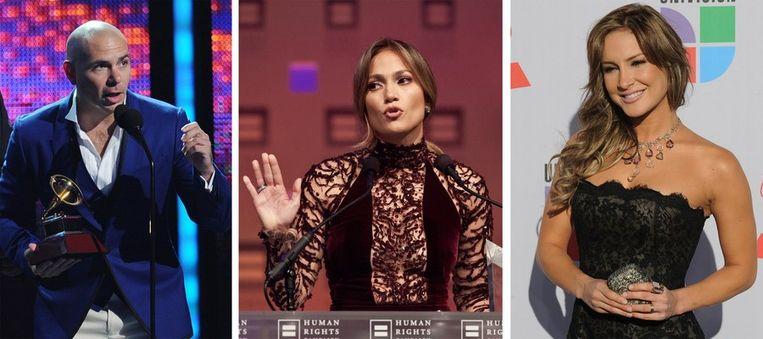 Pitbull, J-Lo en Claudia Leitte. Beeld AFP