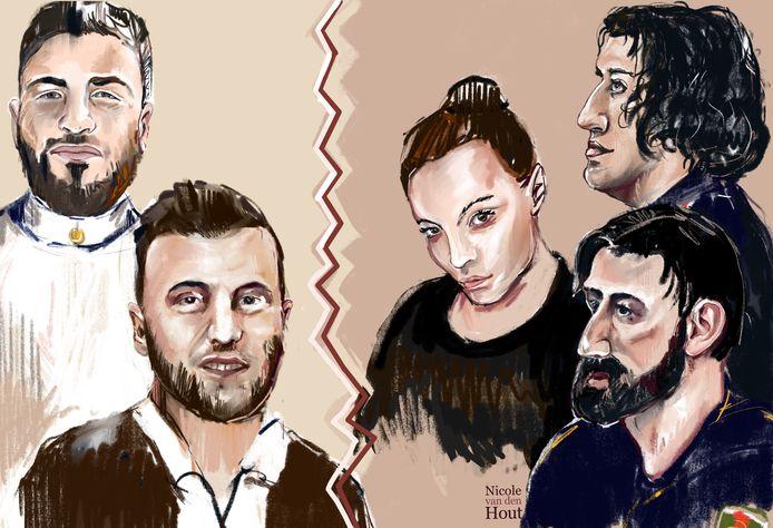 Links de 'Turkse bende' met Emin Y. en Emin Z. Aan de rechterkant de groep rond de broers M., Idris M., Abas M. en Fabienne van den R. 'Het meisje'