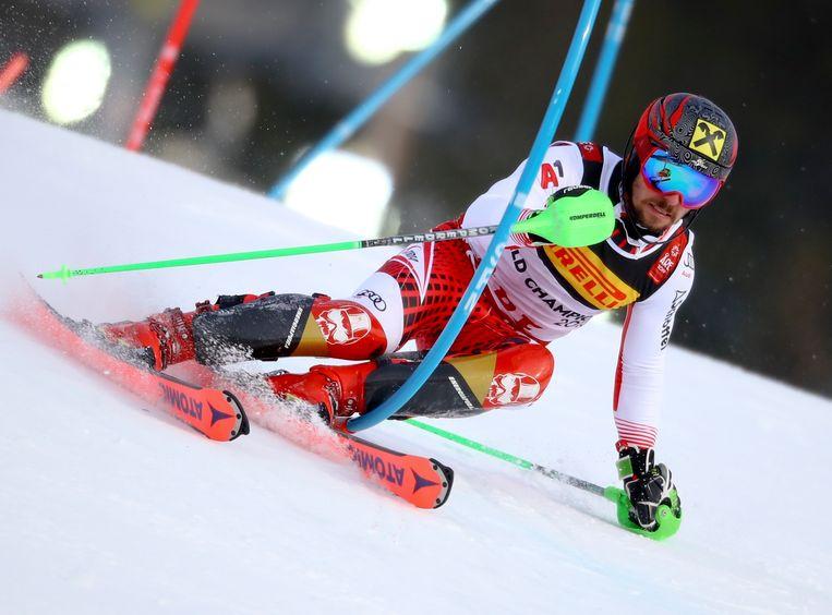 Marcel Hirschner in actie tijdens de WK alpineskiën Beeld AP