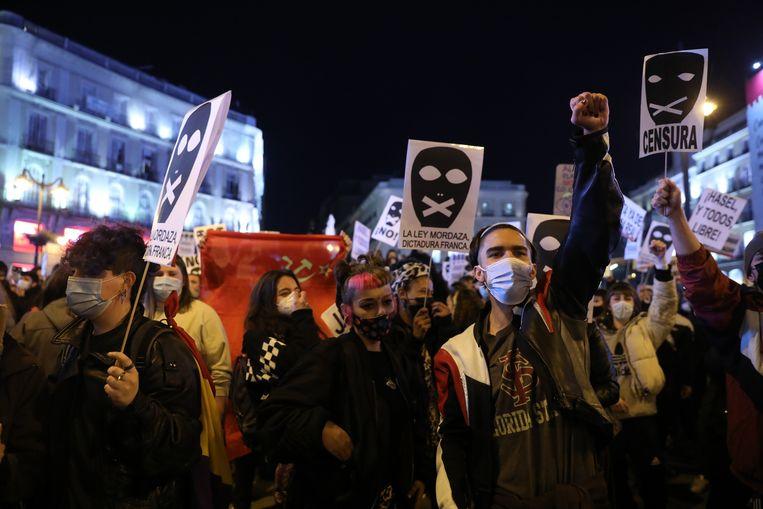 Betoging in Madrid. Beeld Photo News