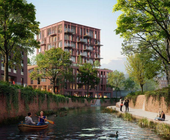 Een impressie van de nieuwbouw die gaat verrijzen op aan de Markendaalseweg in Breda, waar nu nog het voormalige pand van het Kadaster staat.