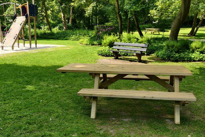 Eén van de nieuwe rolstoelpicknicktafels in Haaltert.