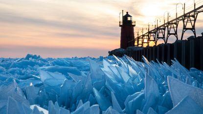 """Natuurpracht: Michiganmeer verandert in """"mozaïek van ijs"""""""
