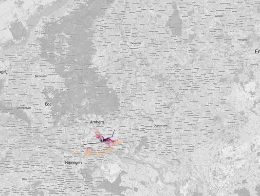 De stikstofneerslag op natuurgebieden van de A15 als er niet verder gemeten wordt dan 5 kilometer van de weg,