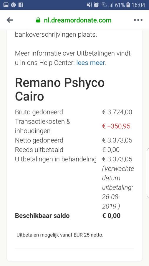 Screenshot van de inzamelingsactie voor de begrafenis van Remano Cairo