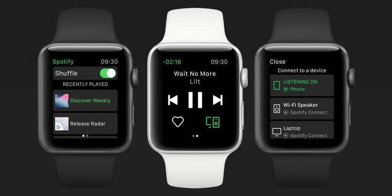 Spotify op een Apple Watch Beeld Spotify