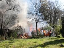 Tuinhuis in Wapenveld volledig verwoest door brand, ook de begroeiing rondom had vuur en vlam gevat