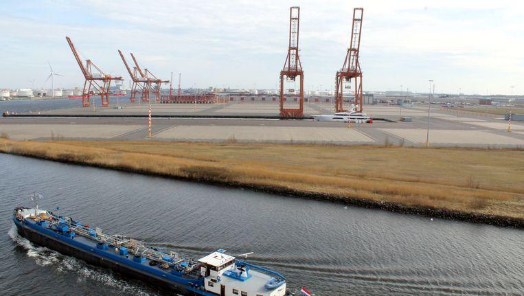 De ACT-terminal aan de Amerikahaven. Als Ceres werden er ooit honderduizenden containers overgeslagen, sinds 2010 ligt de terminal braak. Beeld Herman Stil