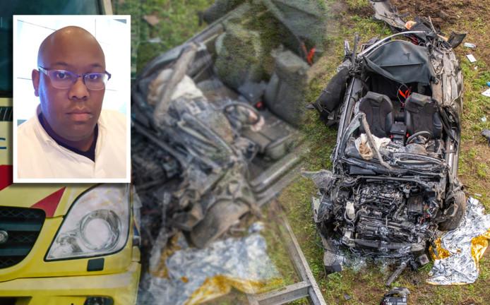 Jean-Louis Margaretha (linksboven) was zondag ooggetuige en hulpverlener van een ernstig auto-ongeluk op de A12 bij Harmelen waarbij de bestuurder zwaargewond raakte.