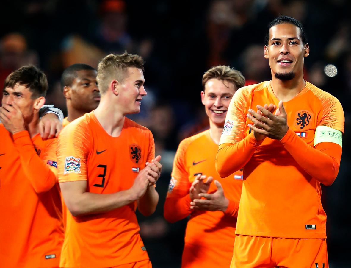 Matthijs de Ligt, Frenkie Jong en Virgil van Dijk.