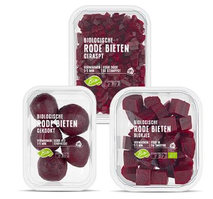Deze drie varianten van biologische rode bieten zijn mogelijk besmet met de listeriabacterie.
