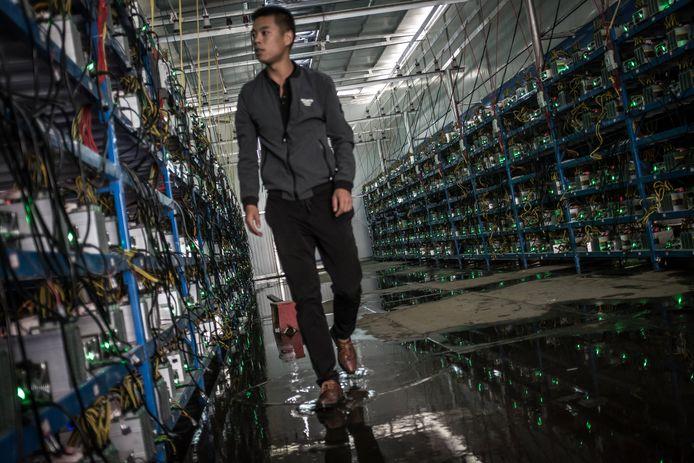 Een 'bitcoinmijn' in Sichuan, China.