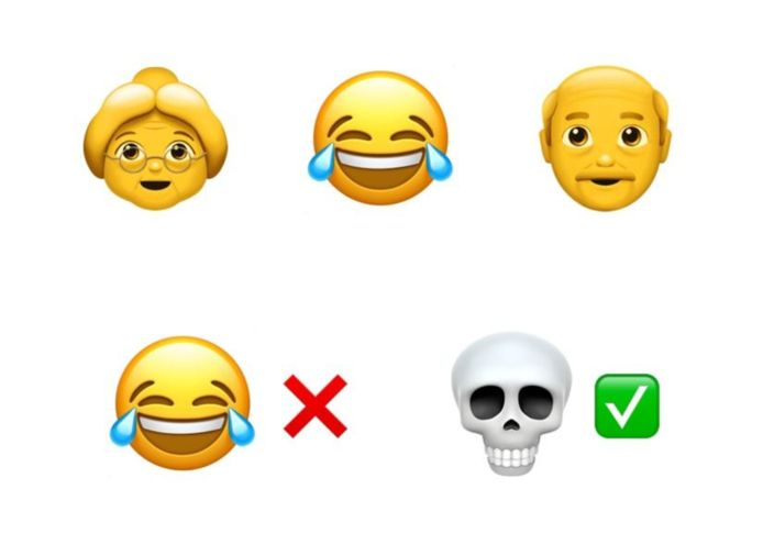 De emoji die tranen met tuiten lacht is voor boomers en werd vervangen door het doodshoofd.