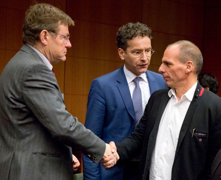 Johan Van Overtveldt, Jeroen Dijsselbloem en Yanis Varoufakis.