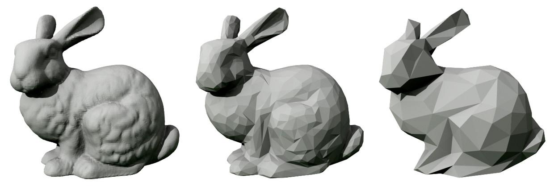 Computermodel van het konijn van de Universiteit van Stanford, waarvan verschillende generaties uit de 3d-printer kwamen. Beeld Trevorgoodchild