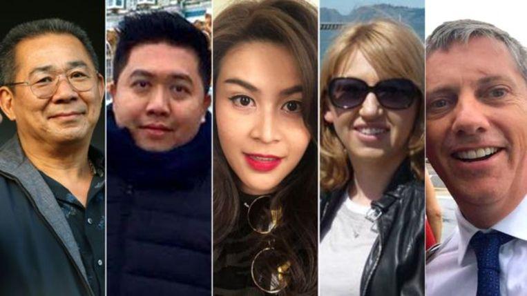 De slachtoffers: Vichai Srivaddhanaprabha, Kaveporn Punpare, Nursara Suknamai, Izabela Roza Lechowicz en Eric Swaffer.