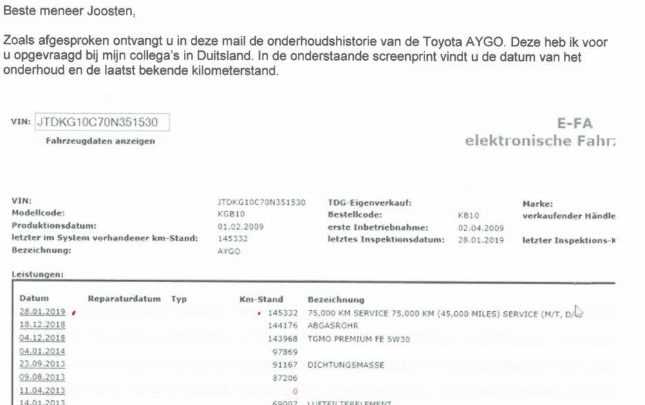 Onderhoudsgeschiedenis van de Toyota Aygo.