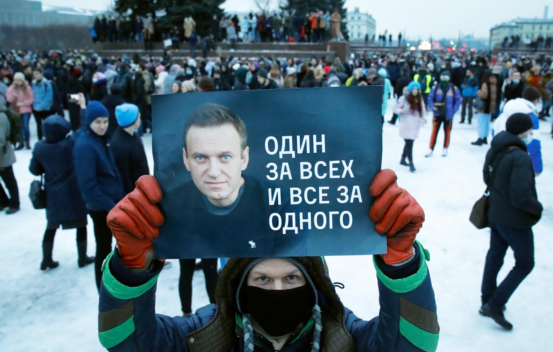 Demonstranten willen Navalny bevrijden