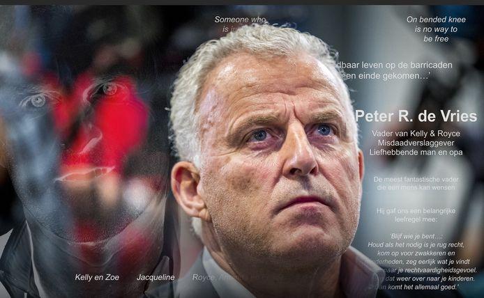 Peter R. de Vries werd vorige week door zijn familie herdacht met een paginagrote advertentie in de Nederlandse dagbladen.