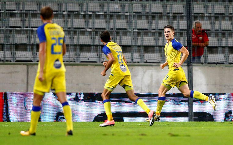Vidar Kjartansson scoorde op assist van Davidzada de enige goal in Oostenrijk. Beeld reuters