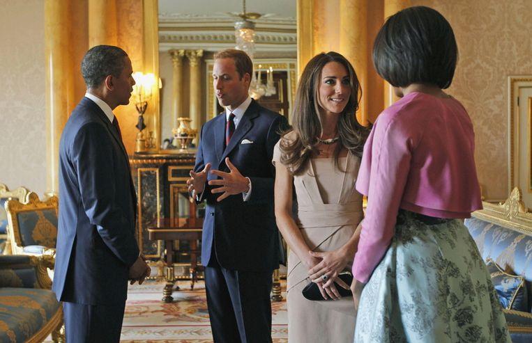 Prins William en zijn kersverse vrouw Catherine Middleton ontvangen Barack en Michelle Obama. © BRUNOPRESS. Beeld
