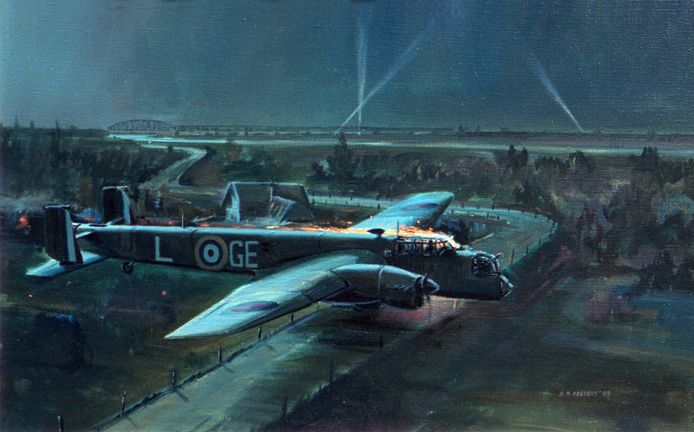 Schilderij van Nico Peeters, nu in bezit van het Royal Air Force Museum.