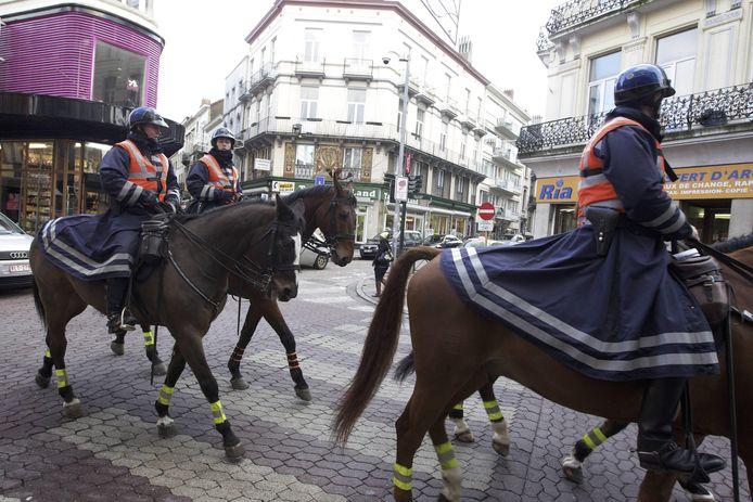 Bereden politie, hier op een archiefbeeld in Brussel.