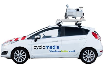 De wagen van Cyclomedia zal een tijdje te zien zijn in Geel.