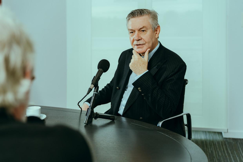 Karel De Gucht in gesprek met Polspoel & Desmet. Beeld Illias Teirlinck