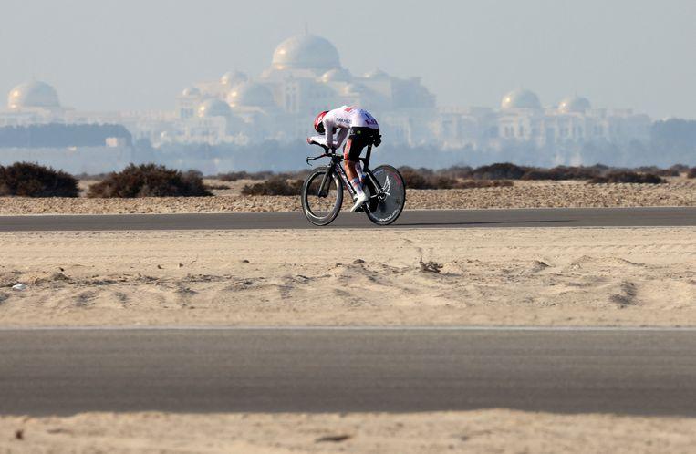 Tadej Pogacar tijdens de UAE Tour. Beeld AFP