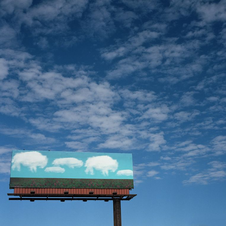 Originele billboards zijn een echte kunst in sommige delen de VS. Deze buffelwolken doen hun uiterste best om niet uit de toon te vallen. Beeld Sandy Carson/INSTITUTE