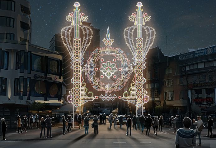 Werk van de Italiaanse kunstenaar Valerio Festi; hij maakt voor de komende Glow in het centrum van Eindhoven 25 licht-poorten.