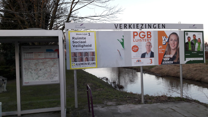 Bij de Reusel is de poster van PrO van het verkiezingsbord gescheurd.