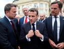 De Luxemburgse premier Xavier Bettel, de Franse president Emmanuel Macron en premier Mark Rutte.