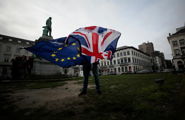 Een pro-Europese Brit voor het Europees Parlement in Brussel. Beeld AP