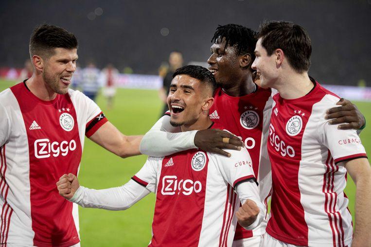 Naci Ünüvar van Ajax heeft de 7-0 gescoord.  Beeld ANP