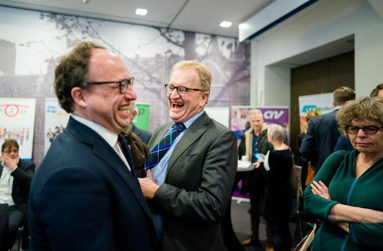Minister Wouter Koolmees van Sociale Zaken en Werkgelegenheid (D66) en Hans de Boer (toen nog VNO-NCW). Beeld Hollandse Hoogte /  ANP