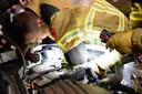 Brandweerlieden in actie.