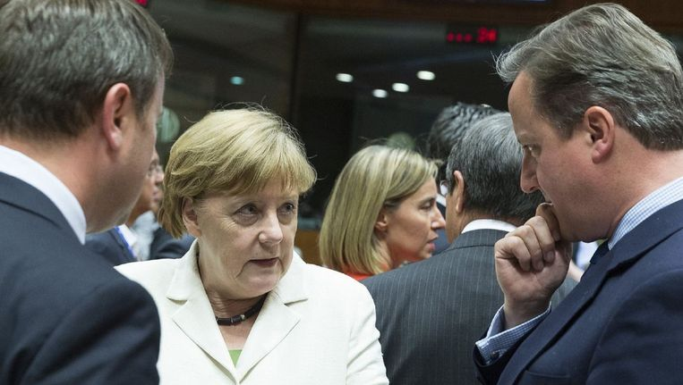 Duits bondskanselier Angela Merkel en David Cameron. Zij ziet Groot-Brittannië de Unie het liefst 'als vriend en partner' verlaten. Al blijft ze kordaat: