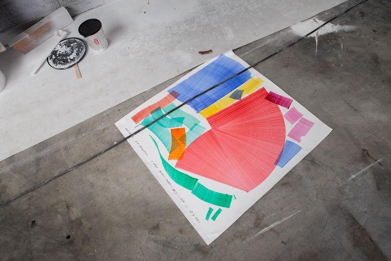 Schetsen van Thomas Trum: 'Hoe bang zijn we wel niet geworden om kleur te gebruiken? Heel zorgelijk.' Beeld Pauline Niks