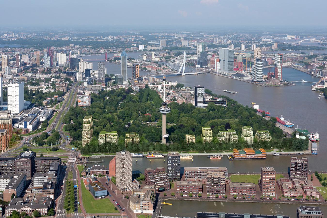 Het Parkhaven project vanuit de lucht. Nu acht woontorens groot: drie links van de Euromast, en vijf rechts.