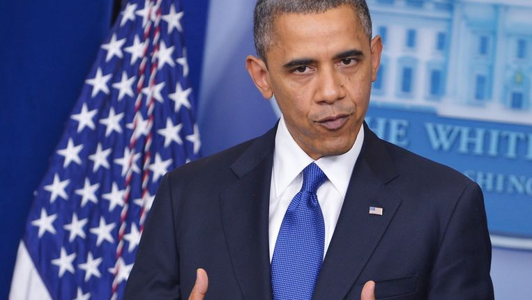 Obama tijdens de persconferentie over de fiscal cliff. Beeld afp