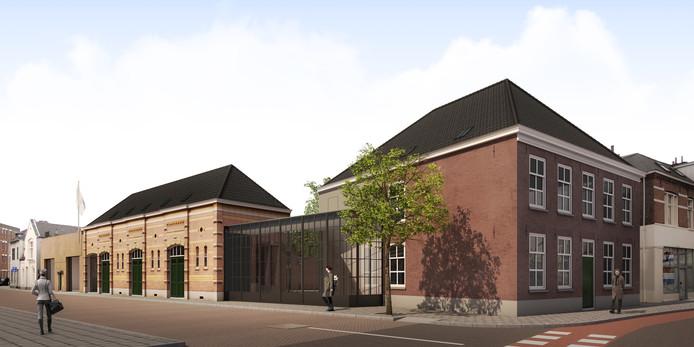 Het aanzicht van de restauratie van het Klein Paradijs/de Kazerne gezien vanaf de Paradijslaan. Met rechts het marechausseehuis aan de Grote Berg en links het voormalige koetshuis, met daartussen de nieuwe glazen lobby.