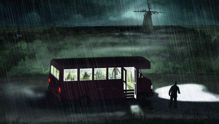 Beeld uit het storyboard van de horrorthriller The Windmill van Nick Jongerius. De opnamen zijn vandaag begonnen. Beeld Gijs van der Lelij