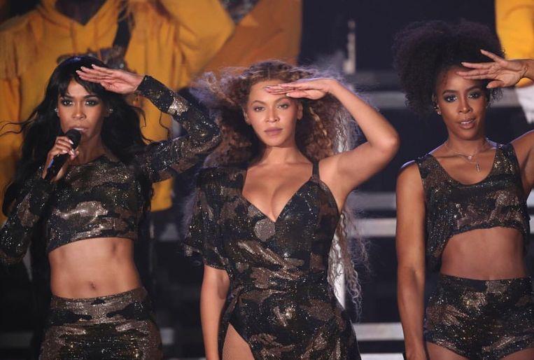 Beyoncé (midden) met Kelly Rowland en Michelle Williams van Destiny's Child op Coachella. Beeld Frank Schallmaier