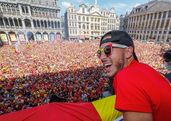 Ook al eindigde het verhaal in 2018 met een troostfinale, toch werd het team warm onthaald op het stadhuis in Brussel.