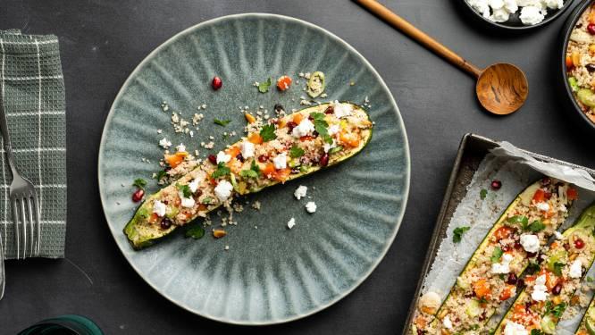 Wat Eten We Vandaag: Gevulde courgette met couscous en geitenkaas