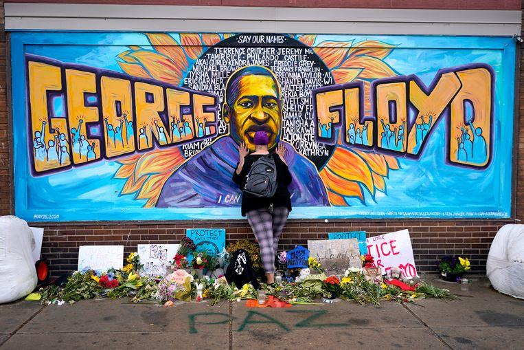 De herdenkingsplaats voor George Floyd op het zogenoemde George Floyd Square in Minneapolis. Beeld AP