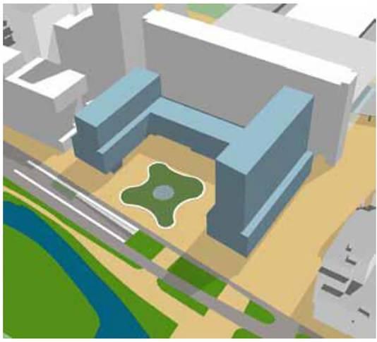 Impressie van een nieuw U-gebouw op het KJ-plein.